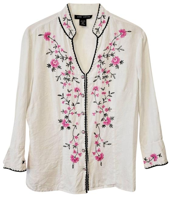 Item - White Linen Embroidered Blouse Size 8 (M)