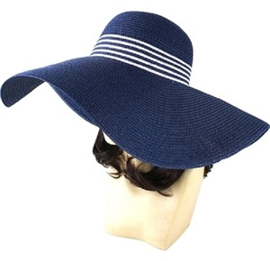 8e8934ea89d83 Other FASHIONISTA Nautical Stripe Navy Blue And White Beach Sun Cruise  Summer Large Floppy Hat