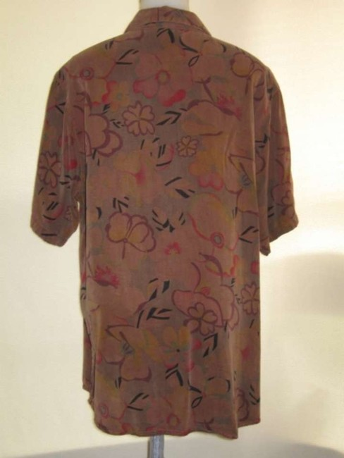Tianello Button Down Shirt Brown with Floral print