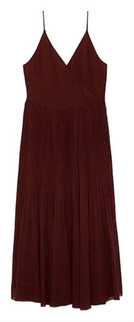 Item - Brown Wilfred Daphnee Pleated Midi Short Casual Dress Size 2 (XS)