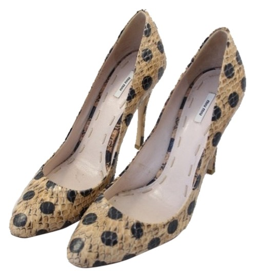 Miu Miu Polka Tan and Black Pumps