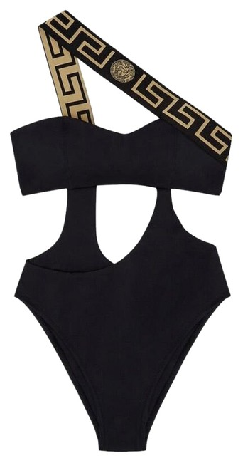 Item - Black and Gold Lining Swimsuit One-piece Bathing Suit Size 12 (L)