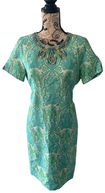 Item - Green Beaded Mid-length Night Out Dress Size 4 (S)