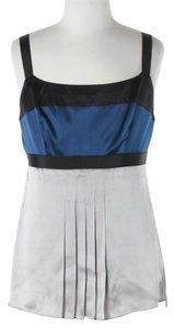 Ann Taylor Silk Pleated Top Royal Blue & Silver
