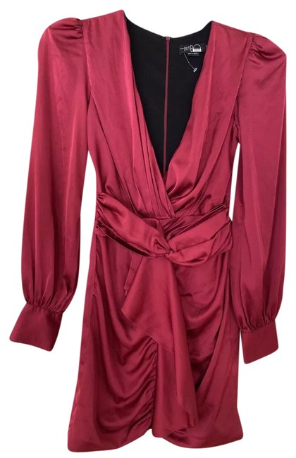 Item - Pink Faux Wrap Silk Short Night Out Dress Size 4 (S)