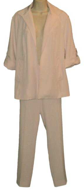 Item - Pale Pink Open Front 3/4 Sleeves Lined Polyester Blend Made In Nyc Usa Pant Suit Size 4 (S)
