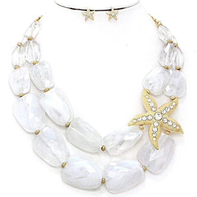 fashionista White and Gold Chunky Beads Starfish Accent Double Strand Necklace fashionista White and Gold Chunky Beads Starfish Accent Double Strand Necklace Image 1