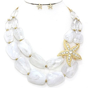 White Chunky Crystal Accent Gold Starfish Double Strand Double Layer Bib Collar Necklace and Earring
