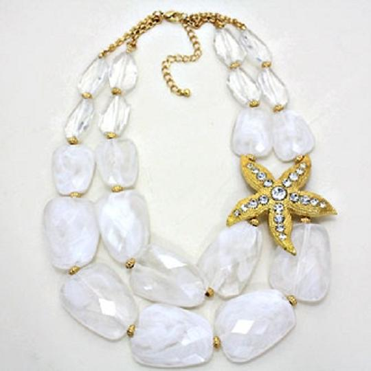 Other White Chunky Beads Starfish Accent Double Strand Necklace and Earrings