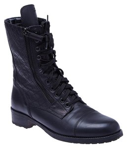 Chanel Military Zipper Leather Black Boots
