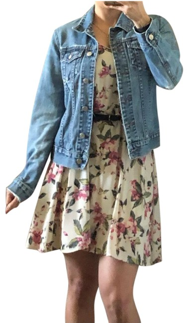 Item - Cream Floral Shift Short Casual Dress Size 6 (S)