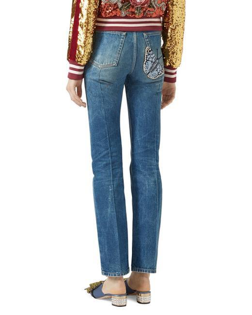 Item - Blue Light Wash Distressed Butterfly Applique Cropped Straight Leg Jeans Size 29 (6, M)