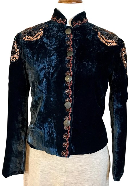 Item - Blue Beaded and Sequin Velour Blazer Size 8 (M)