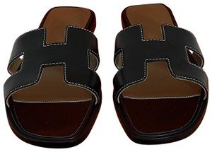 Hermès Oasis Oasis New With Box Gold BLACK Sandals