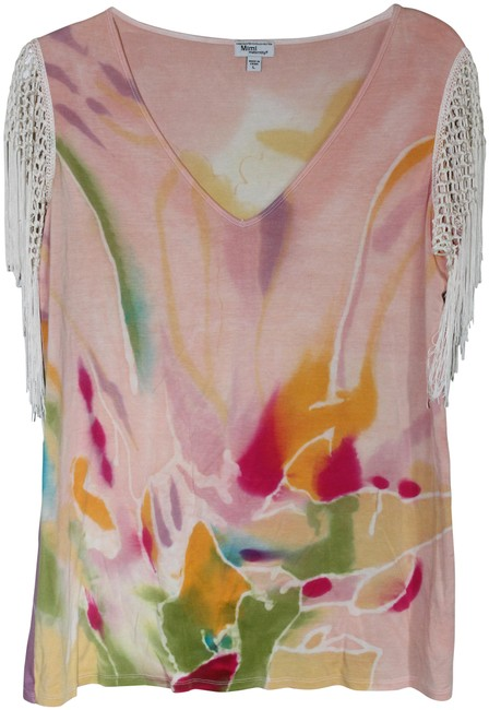 Item - Tie-dye With Fringe Sleeves Maternity Top Size 12 (L)