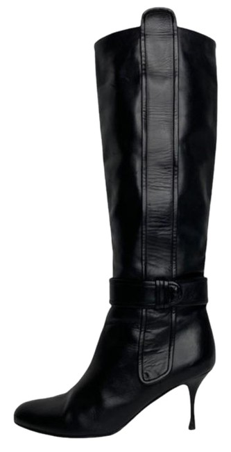 Item - Black Leather Knee High Boots/Booties Size US 9 Wide (C, D)