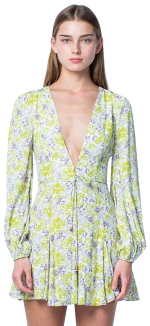 Item - Green Floral Long Sleeve Prairie Billowy Hippie Psychedelic Mini Short Casual Dress Size 8 (M)