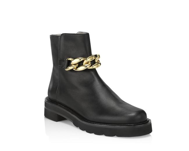 Item - Black Gold Chain Lift Leather Dust Bag Boots/Booties Size US 9.5 Regular (M, B)