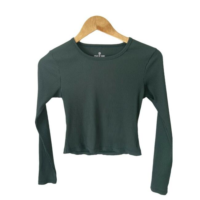Item - Green X Bandier Women's Small Crop Sleeve Rib St Blouse Size 4 (S)