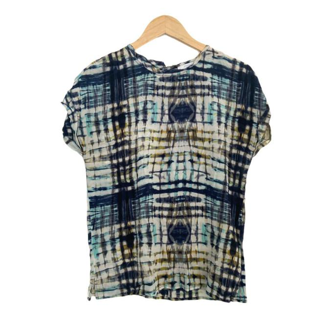 Item - Multicolor Womens Silk Small Tie Short Sleeve Blouse Size 4 (S)