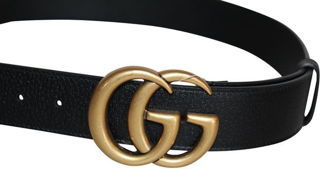 Item - Black Gold W New Leather with Double G Dust Bag 406831 D120t90 Belt