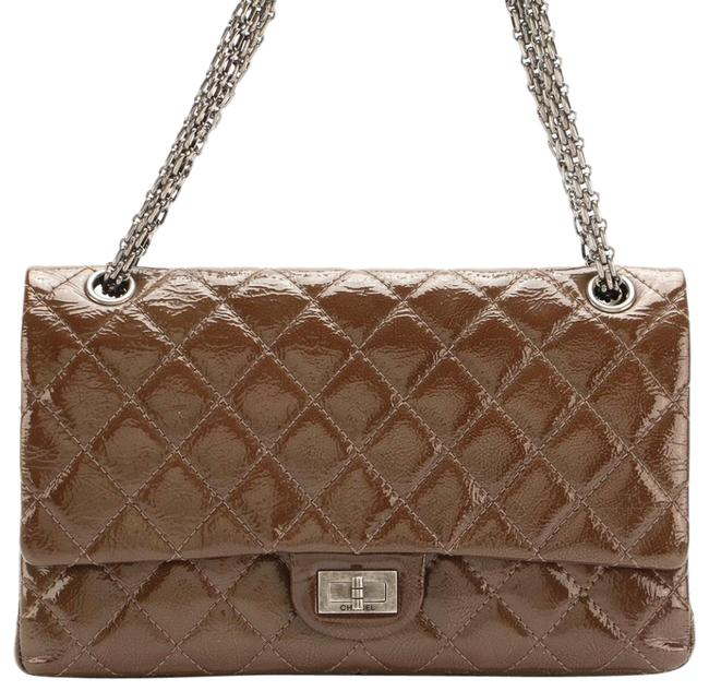 Item - 2.55 Reissue Double Flap Brown Patent Leather Cross Body Bag