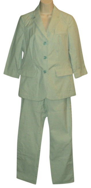 Item - Aqua & Cream Stripes Buttoned Front Unlined Beltloops Made In Nyc Usa Pant Suit Size 6 (S)