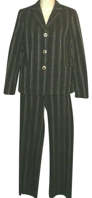 Item - Black and Gray Pinstripes Lined Jacket Buttoned Long Sleeves Pant Suit Size 4 (S)