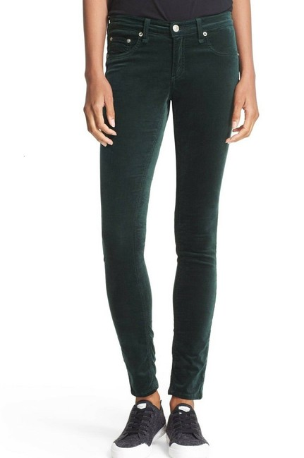 Item - Scarab Green Coated Velvet Suede Leggings Stretchy Skinny Jeans Size 25 (2, XS)