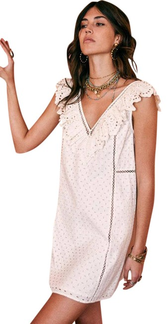Item - White Martie Lace Eyelet Frill In Ecru Us Cocktail Dress Size 6 (S)
