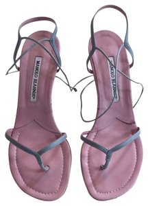 Manolo Blahnik Pale Blue/ Pink Sandals