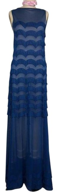 Item - Blue Maxi Sheer Mesh Scalloped Gathered Long Night Out Dress Size 8 (M)