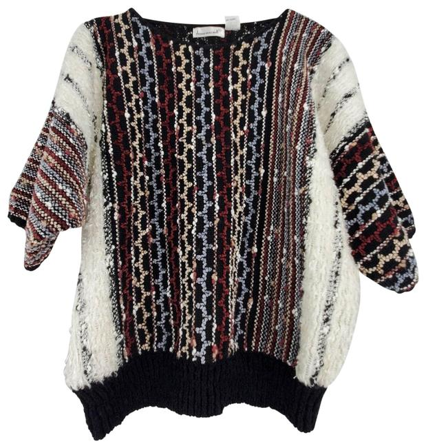 Item - Textured Weave Dolman Sleeve Slouchy Retro Multicolor Sweater
