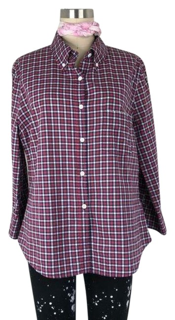 Item - Red White Plaid Cropped Button Up Shirt Button-down Top Size 12 (L)