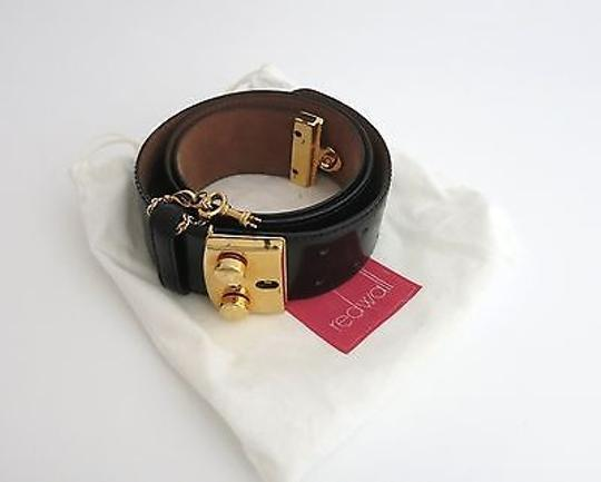 Moschino Moschino Redwall Vintage Black Patent Leather Belt With Gold Buckle