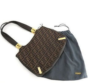Fendi Monogram Zucca Fabric Leather Hobo Bag