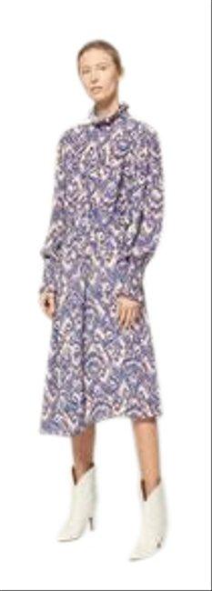 Item - Purple & White Patterned Nwot: Yescott Super Chic and Sold Out Everywhere Mid-length Work/Office Dress Size 6 (S)