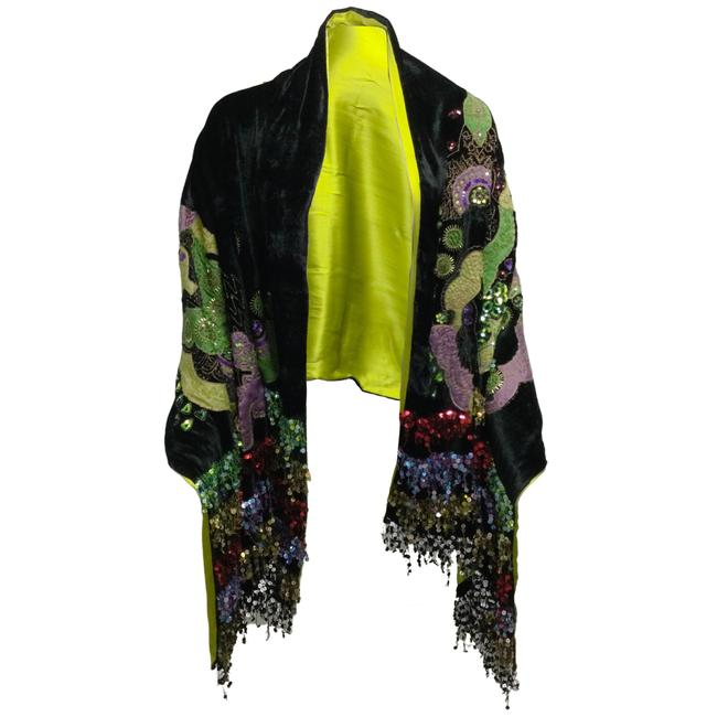Item - Black / Green Multi Hand Embroidered and Sequined Velvet and Silk Scarf/Wrap