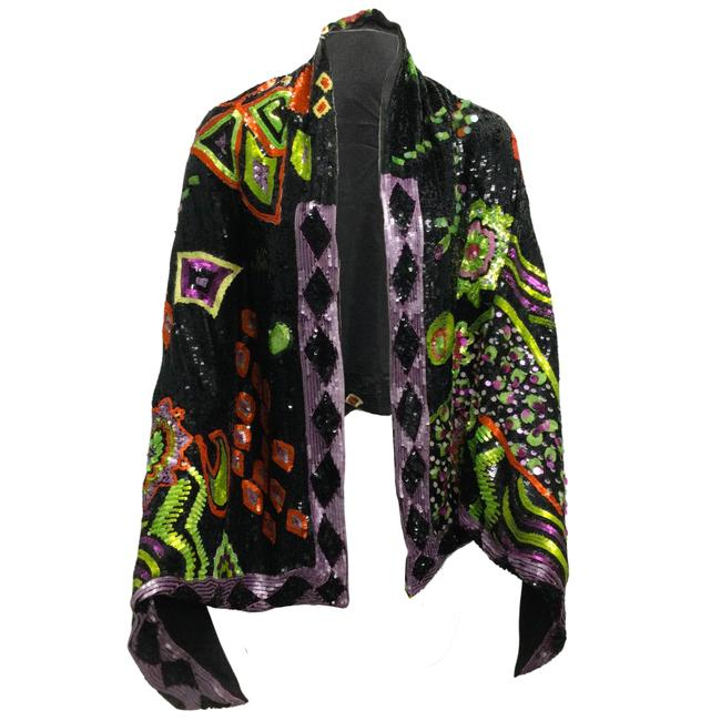 Item - Black Multi Hand Embroidered Sequined Silk Scarf/Wrap