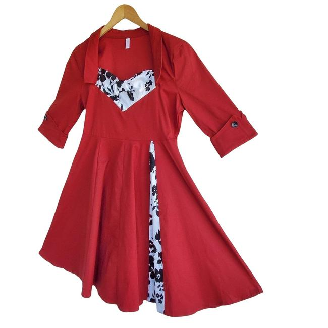 Item - Red XL Retro Pinup Mid-length Night Out Dress Size 16 (XL, Plus 0x)
