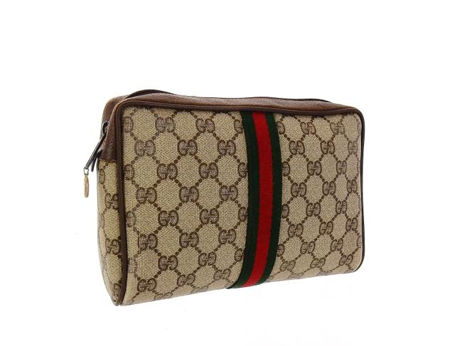 Item - Brown Vintage Supreme Web Gg Monogram Canvas and Lather Travel Toiletry Cosmetic Bag