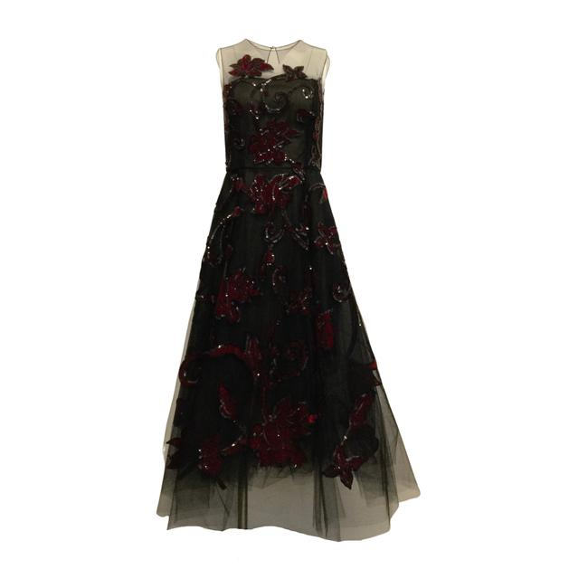 Item - Black / Red Sleeveless Mesh with Sequins Long Formal Dress Size 4 (S)