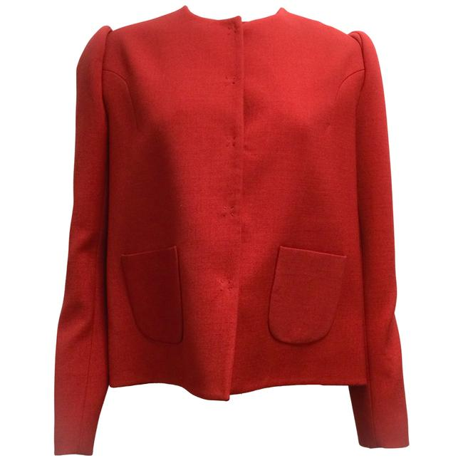 Item - Red Structured Viscose and Wool Blazer Size 12 (L)