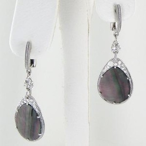 Judith Ripka Judith Ripka Lasso Black Drop Earrings Mother Of Pearl Wht Sapphire 925