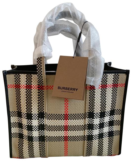 Item - East West Natural Vintage Check Small Woven Book Archive Beige Leather Tote