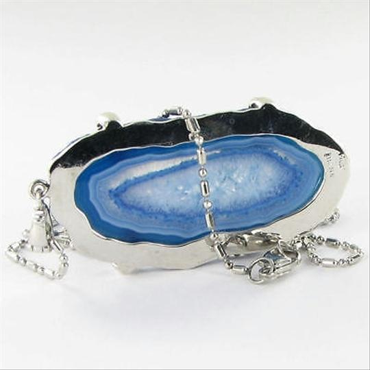 Anzie Anzie Blue Agate Pave Pendant Necklace White Topaz Sterling Silver