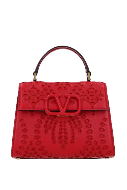 Item - Small Vsling In San Gallo Embroidery Red Leather Shoulder Bag