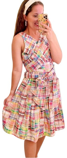 Item - Pink Beanie Plaid Tie 4/S Short Casual Dress Size 4 (S)