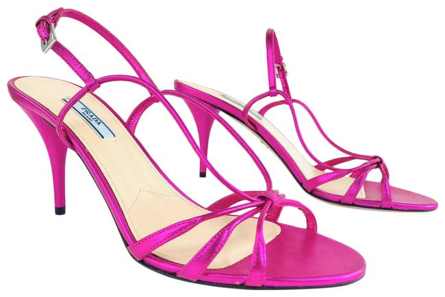 Item - Pink Neon Metallic Leather Strappy Slingback Ankle Strap Sandals Size EU 39.5 (Approx. US 9.5) Regular (M, B)