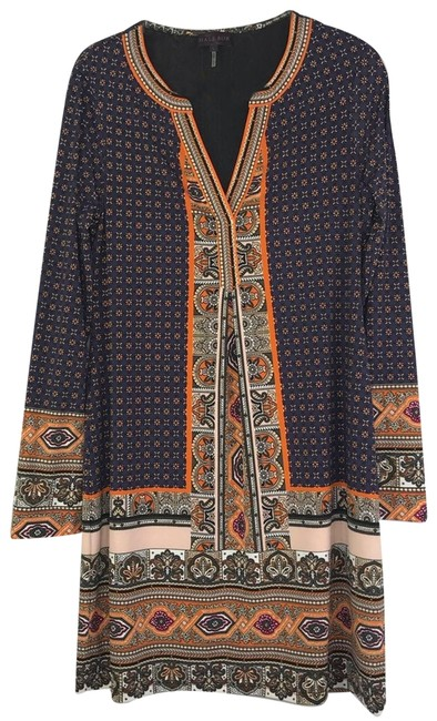 Item - Blue Orange Jersey Pleated Front Printed Mini Short Casual Dress Size 12 (L)